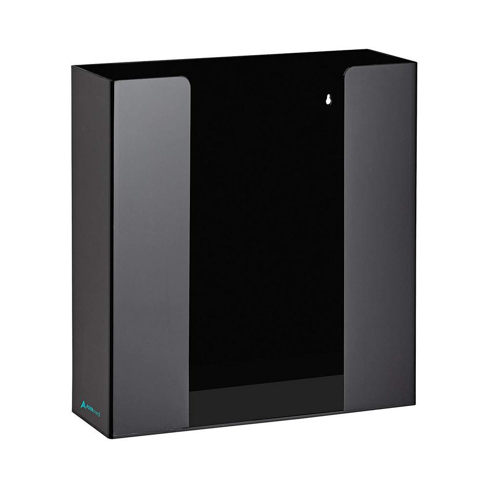 Double Box Capacity Acrylic Black Glove Dispenser