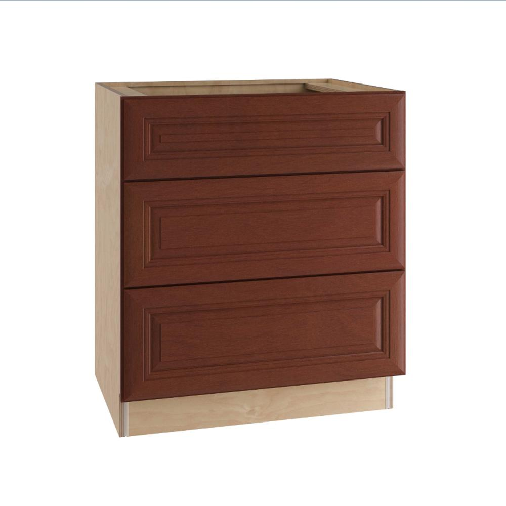 Home Decorators Collection Lyndhurst Assembled 30x34.5x24 In. Single False  Front U0026 2 Deep