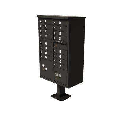 Vital Series Dark Bronze 1-Outgoing Mail Compartment Cluster Box Unit with 16-Mailboxes, 2-Parcel Lockers