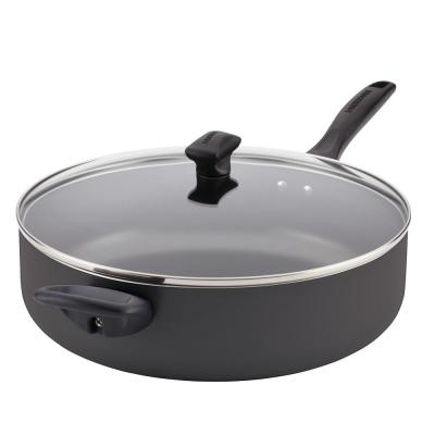 Dishwasher Safe 12 in. Aluminum Nonstick Skillet in Black with Glass Lid