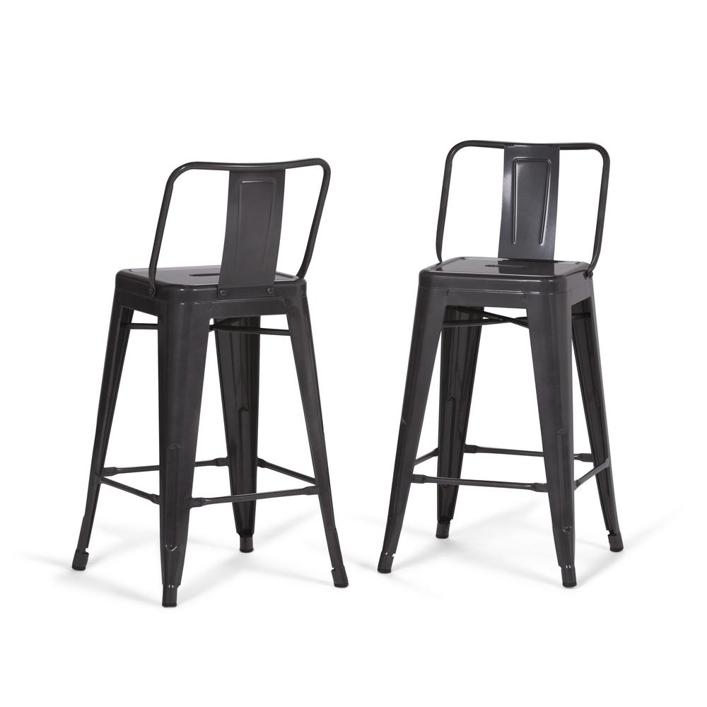 Grey Metal Counter Height Stool (Set Of 2)