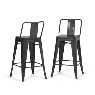 Rayne 24 in. Grey Industrial Metal Counter Height Stool (Set of 2)