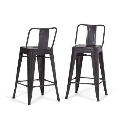 Rayne 24 In. Grey Metal Counter Height Stool (Set Of 2)