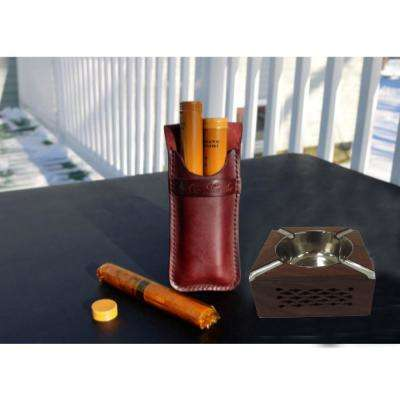 Brown Handmade Rosewood Round Ashtray with 3-Cigarette Holder Slots