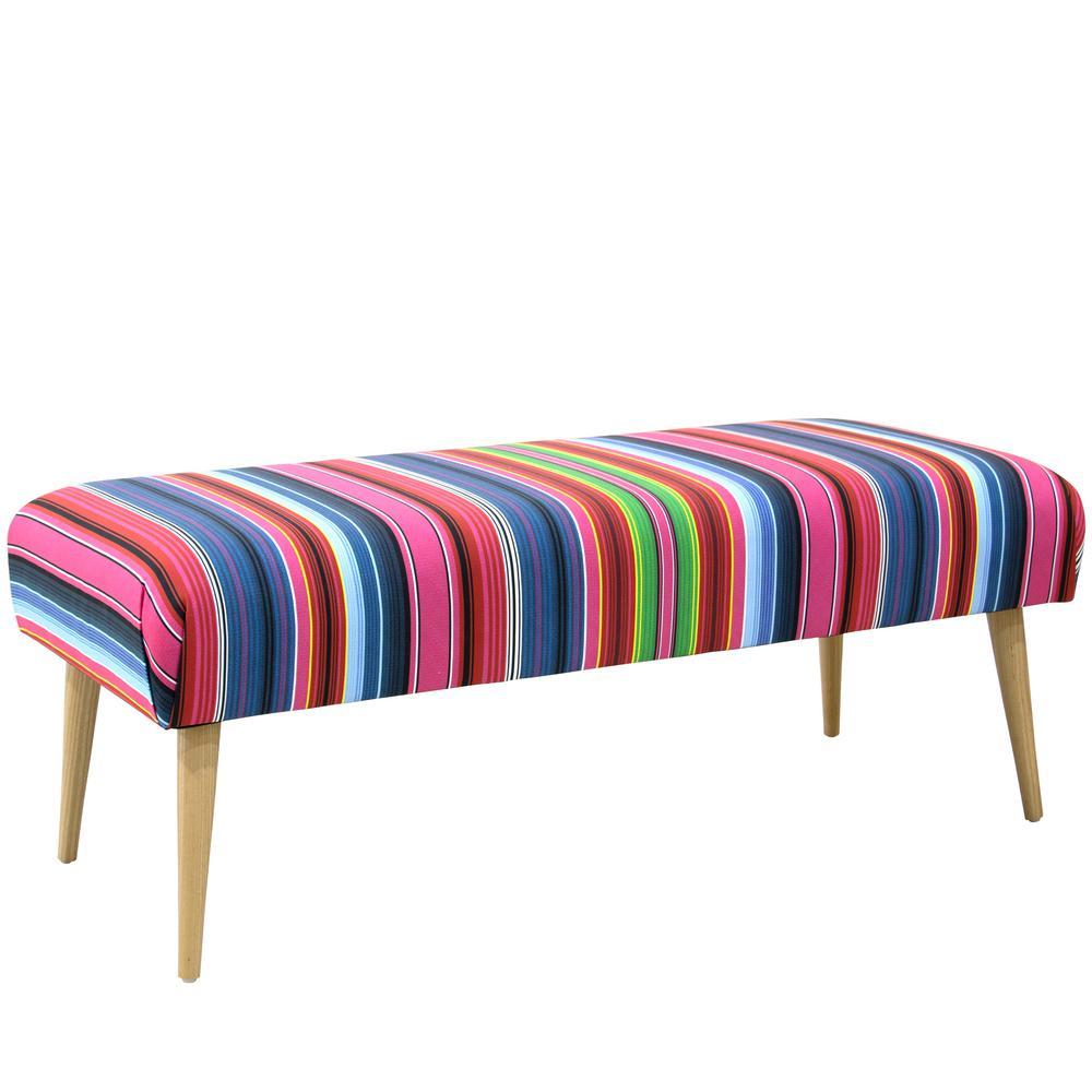 Serape Stripe Bright Multi Bench with Cone Legs