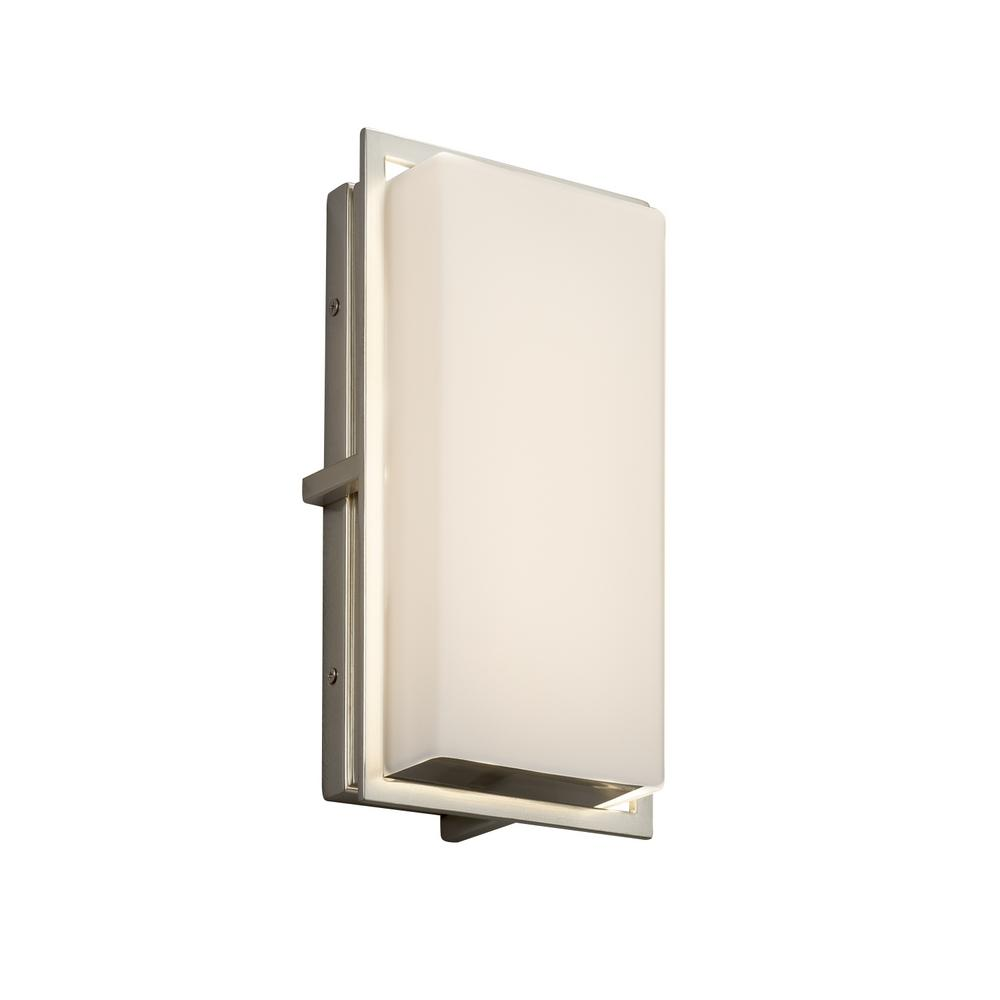 Justice Design Fusion Avalon Small Brushed Nickel Outdoor Integrated LED Wall Sconce with Opal Shade