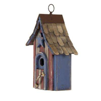 11.42 in. H Hanging Distressed Solid Wood Garden Birdhouse