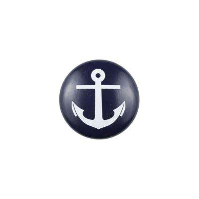 1.5 in. Blue Anchor Painted Wood Knob