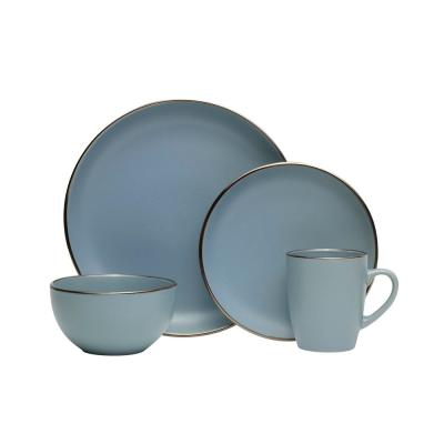 16-Piece Hadlee Blue Stoneware Dinnerware Set (Service for 4)