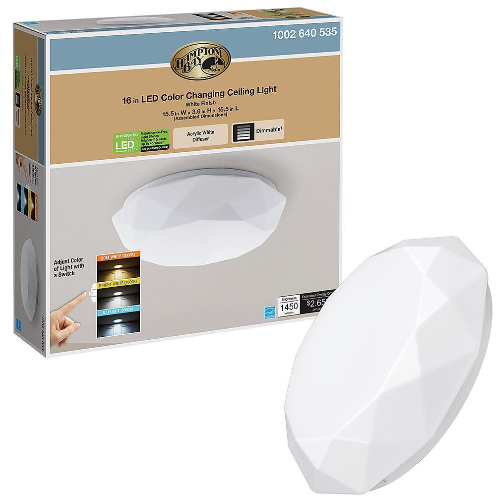 16 in. Diamond Selectable LED Flush Mount Ceiling Light 1450 Lumens Dimmable 22-Watts 120V 3000K 4000K 5000K