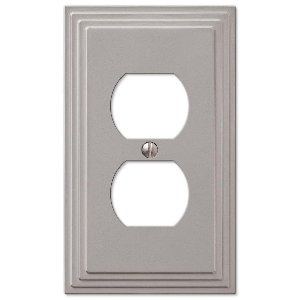 Hampton Bay Tiered 1 Duplex Outlet Plate Satin Nickel Cast 84dnhb