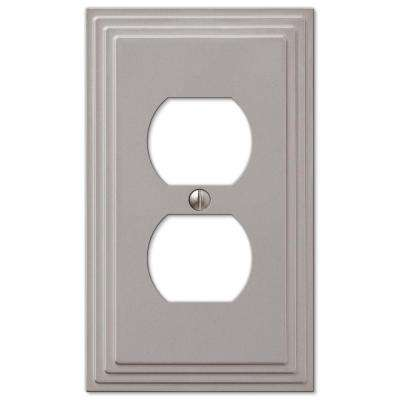 Tiered 1 Duplex Outlet Plate - Satin Nickel Cast