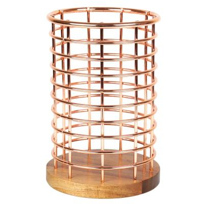 Deluxe Acacia Copper Wood and Iron Wire Utensil Tool Holder Crock