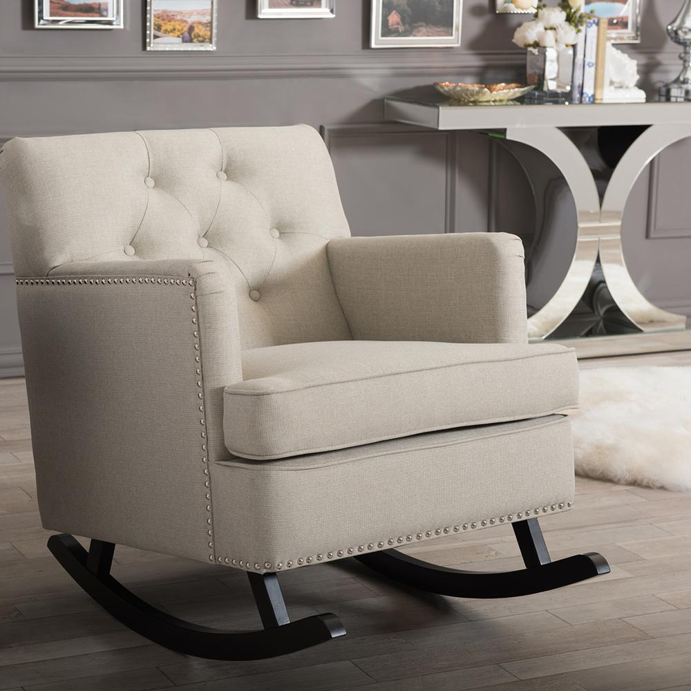 Baxton Studio Bethany Contemporary Beige Fabric Upholstered Rocking Chair 28862 6761 HD    The Home Depot