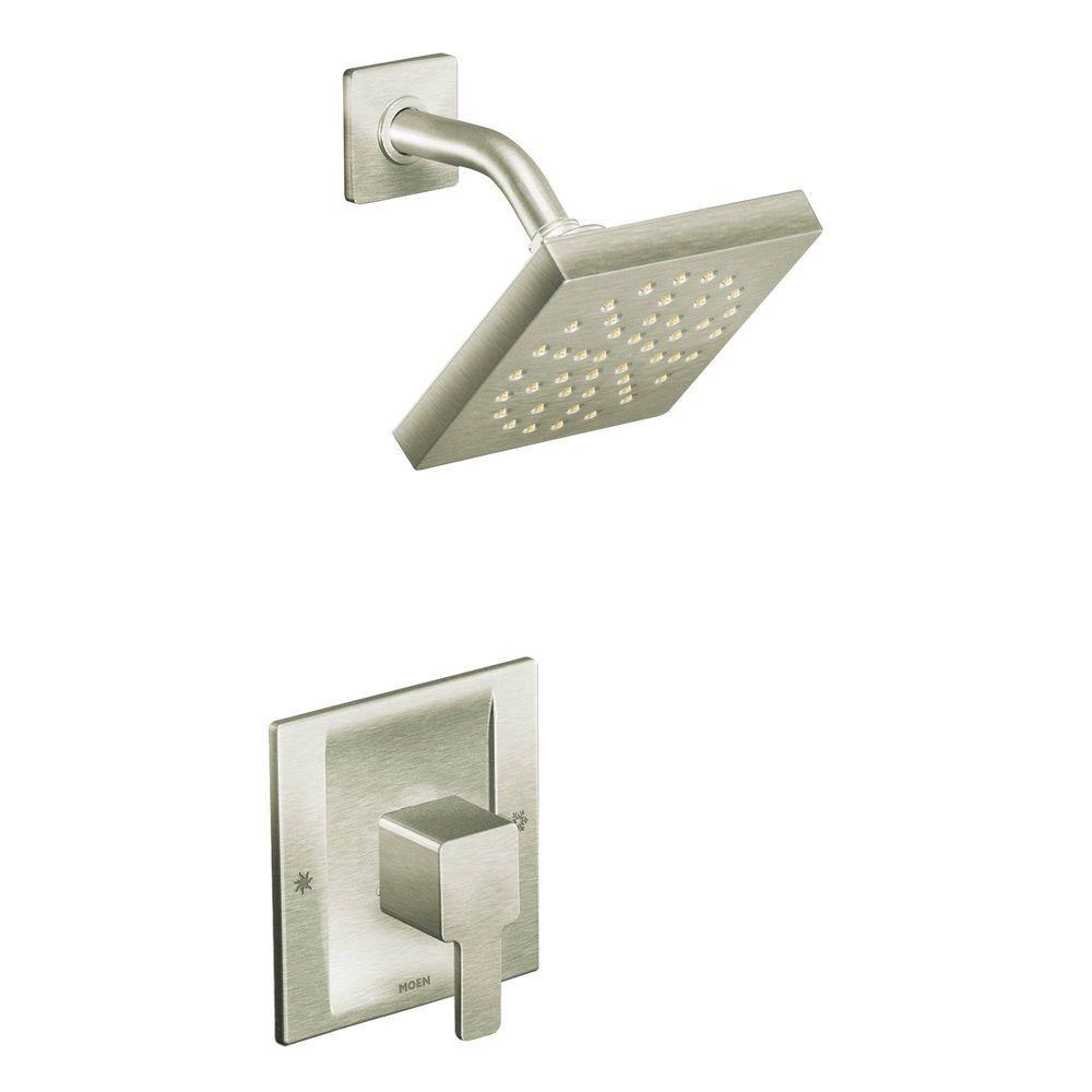 MOEN 90-Degree Posi-Temp Single-Handle 1-Spray Shower Faucet Trim Kit in Brushed Nickel (Valve Not Included)