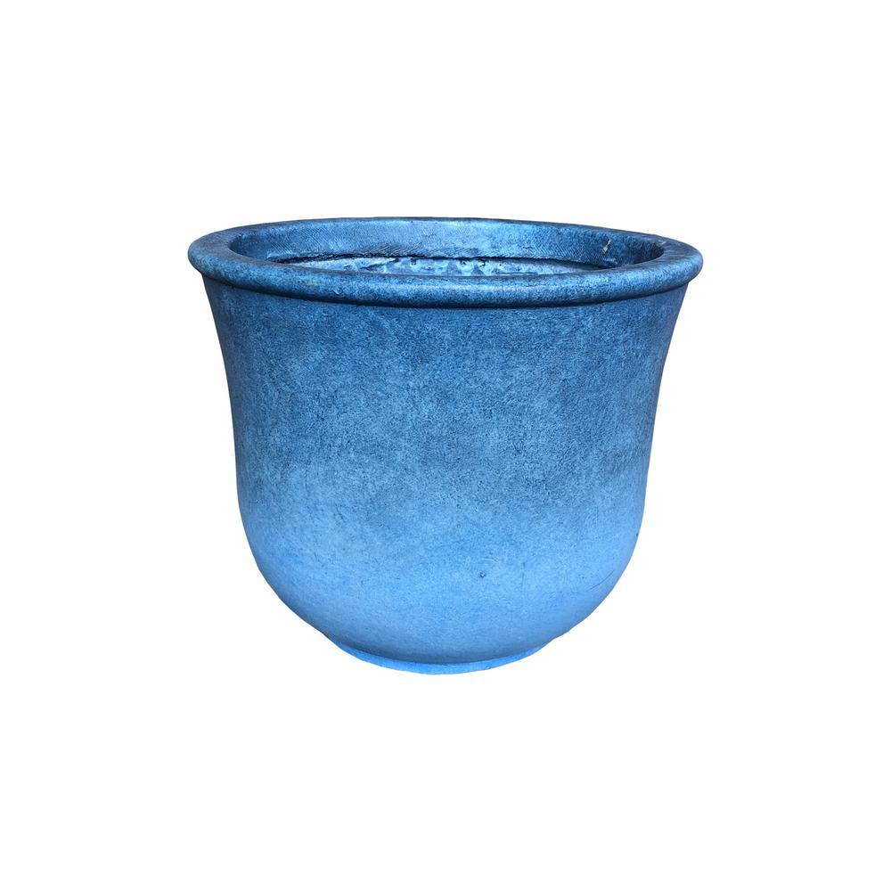 14.96 in. x 12.6 in. H Blue Lightweight Concrete Vibrant Ombre Tulip Medium Planter