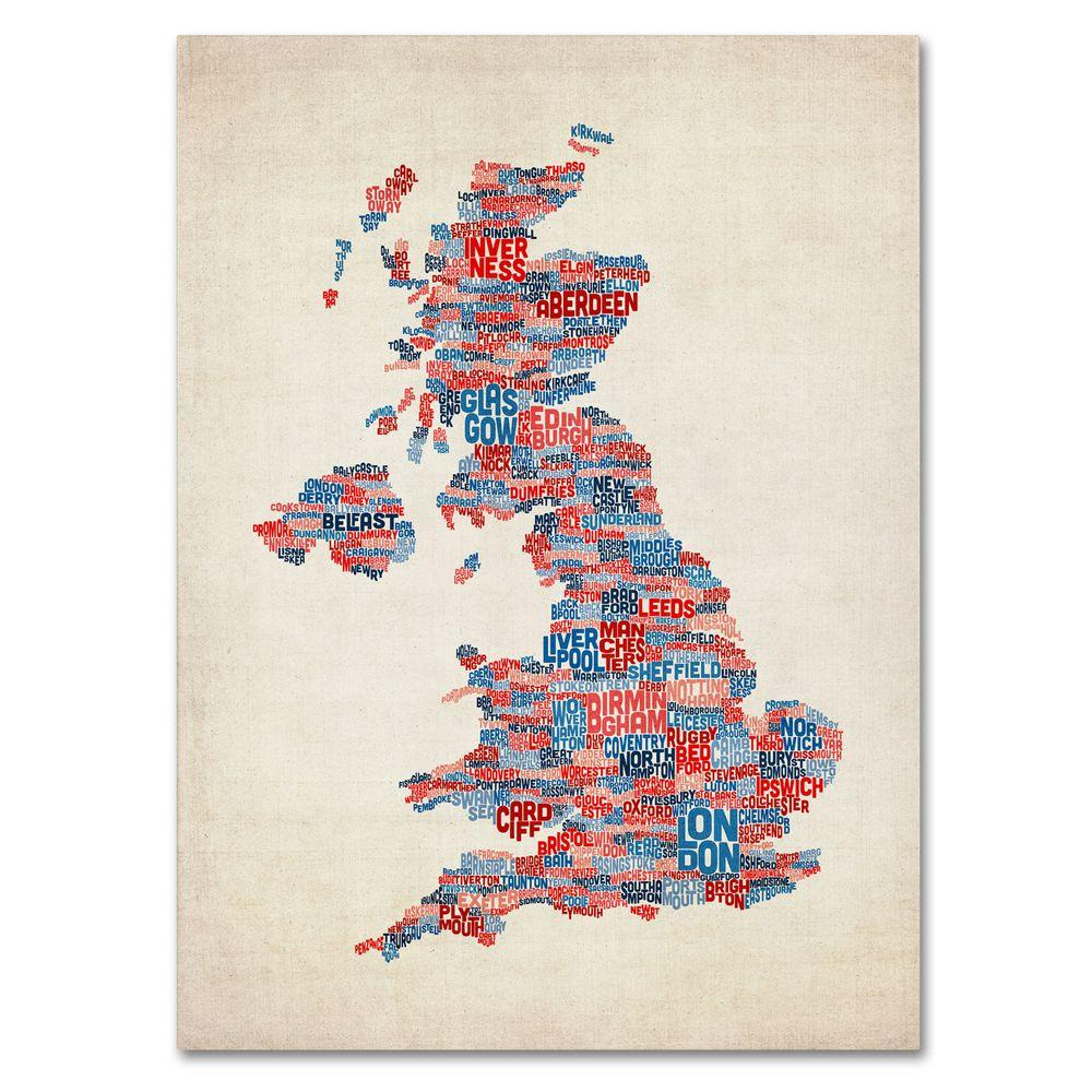 Trademark Fine Art 16 in. x 24 in. UK Cities Text Map 2 Canvas Art