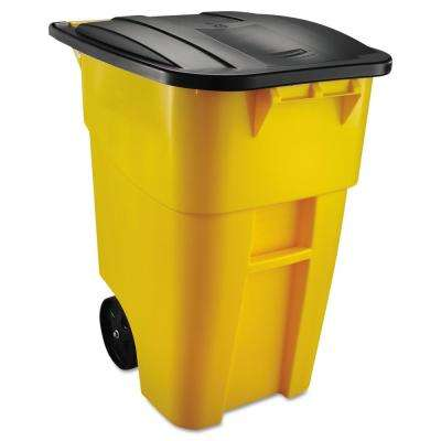 BRUTE 50 Gal. Yellow Rollout Trash Can with Lid