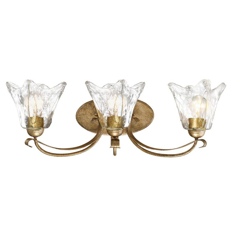 Chatsworth Collection 3 Light Vintage Gold Vanity With Clear Gl