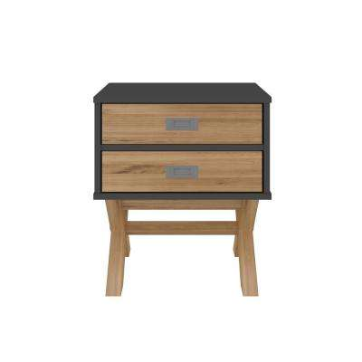 Barclay 2-Drawer Black and Natural Wood Nightstand