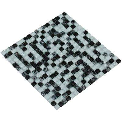 MeshPess/Crystal, Black and White, 4 in. x 4 in. x 8 mm Glass Mesh-Mounted Mosaic Tile, Tile Sample