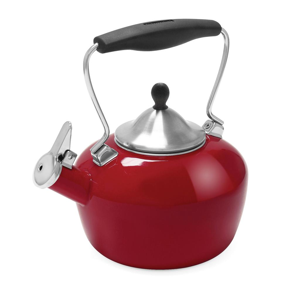 Catherine 7.2-Cups Enamel-on-Steel Royal Red Tea Kettle