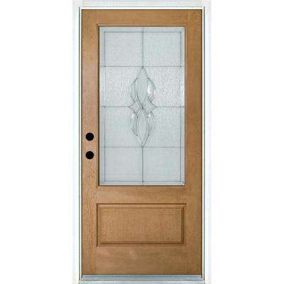 36 in. x 80 in. Scotia Light Oak Right-Hand Inswing 3/4 Lite Decorative Fiberglass Prehung Front Door