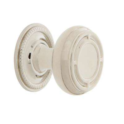 Mission 1-3/8 in. Polished Nickel Brass Cabinet Knob with Rope Rose