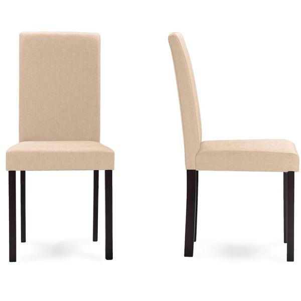 Baxton Studio Andrew Beige Fabric Upholstered Dining Chairs (Set of 2)