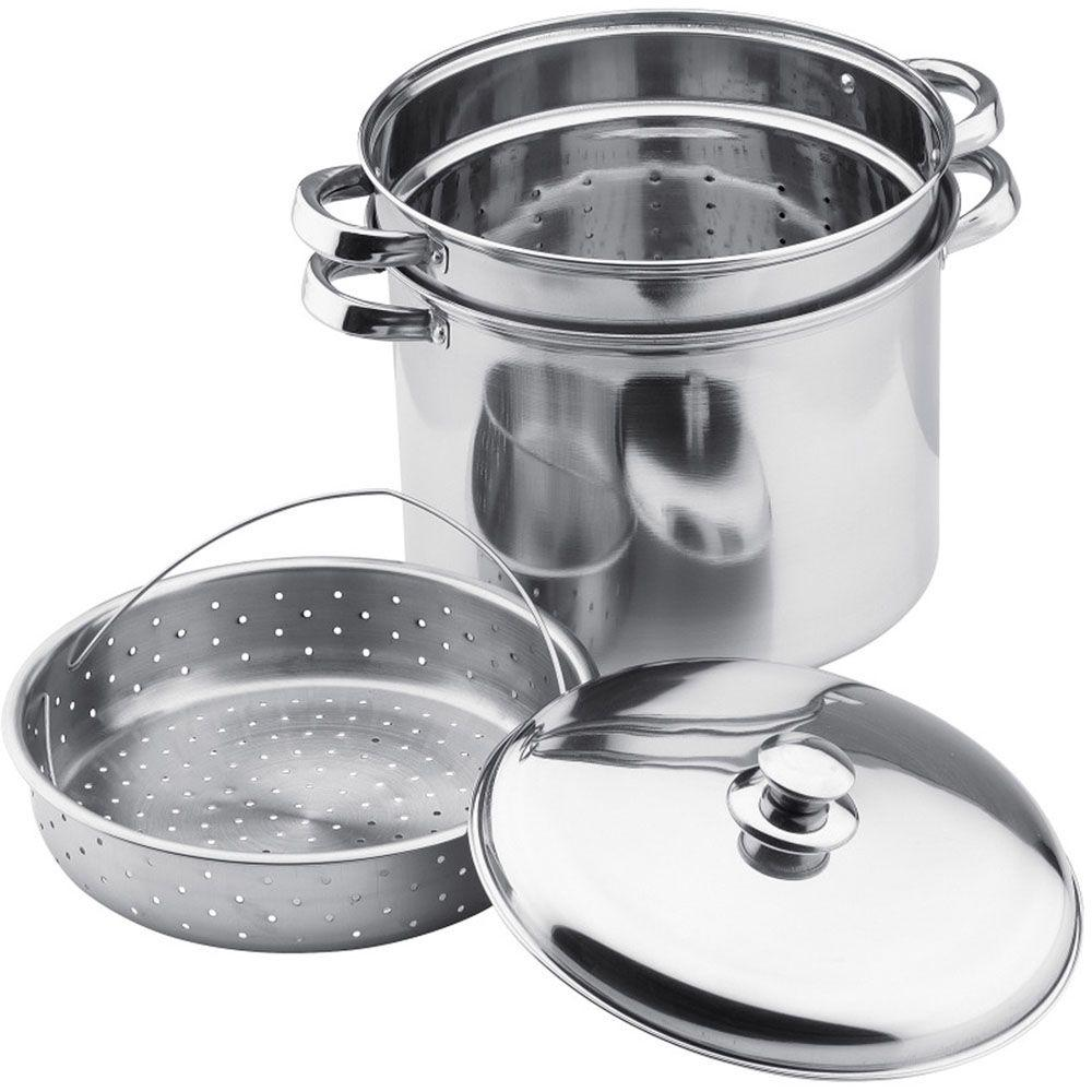 Vinaroz Collection 4-Piece Steamer Pot in Stainless Steel-DISCONTINUED