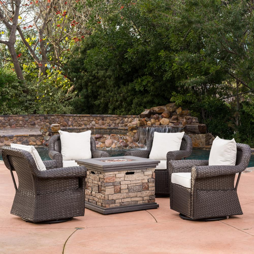 Noble House 5-Piece Wicker Patio Fire Pit Conversation Set ...