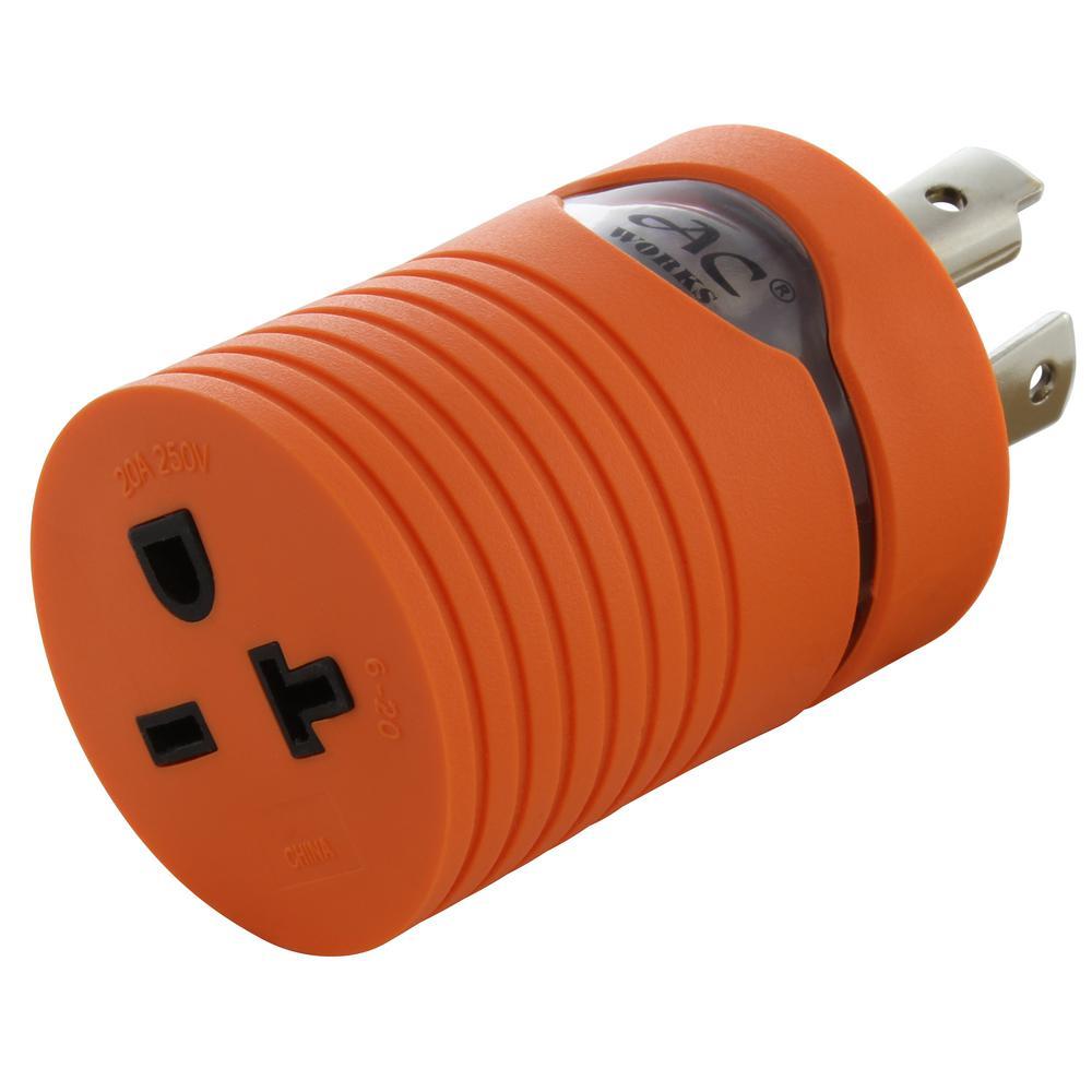 30 Amp 4-Prong L14-30 Locking Plug to NEMA 6-20 15/20 Amp 250-Volt Female Connector