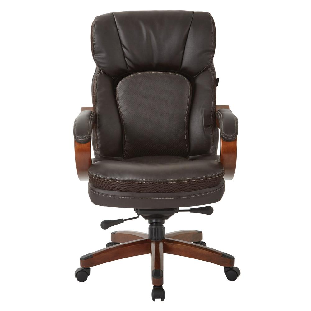 Inspired By Bassett Van Buren Espresso Bonded Leather Knee Tilt Executive Chair