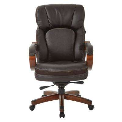 Van Buren Espresso Bonded Leather Knee Tilt Executive Chair