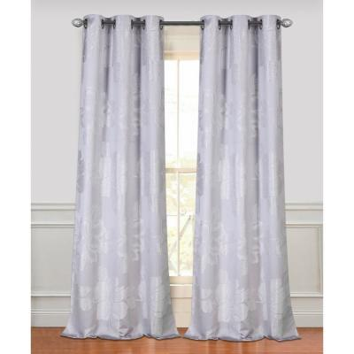 84 in. Floral Park Silver Grommet Curtain Panel Pair