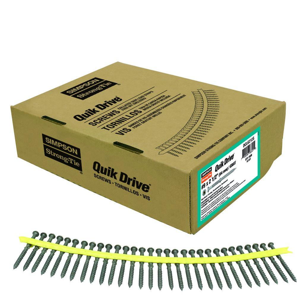 Simpson Strong-Tie Quik Drive #9 2-1/2 in. Quik Guard Gray Collated Composi-Lok Screw (1,000 per Box)