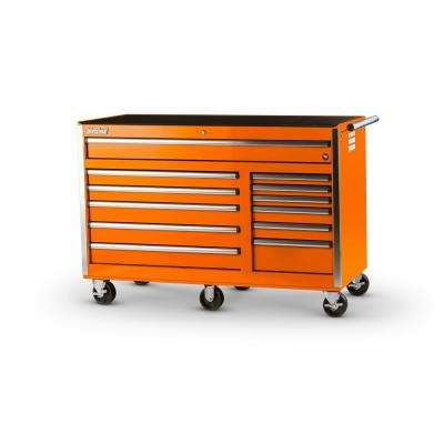 Tech Series 56 in. 12-Drawer Roller Cabinet Tool Chest in Orange