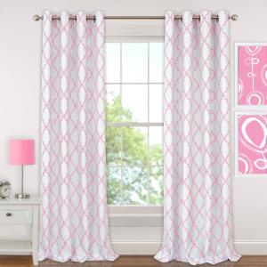 Elrene Candice 52 inch W x 84 inch L Polyester Single Blackout Window Curtain Panel in Pink by Elrene