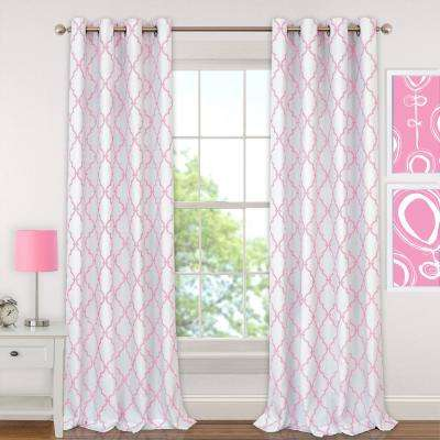 Candice 52 in. W x 95 in. L Polyester Single Blackout Window Curtain Panel in Pink