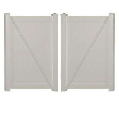 Savannah 7.4 ft. W x 6 ft. H Tan Vinyl Privacy Double Fence Gate