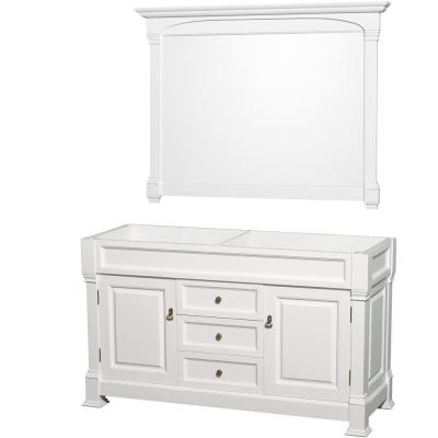Andover 60 in. W x 22.25 in. D Bath Vanity Cabinet Only with Mirror in White