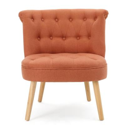 Cicely Tufted Orange Fabric Accent Chair