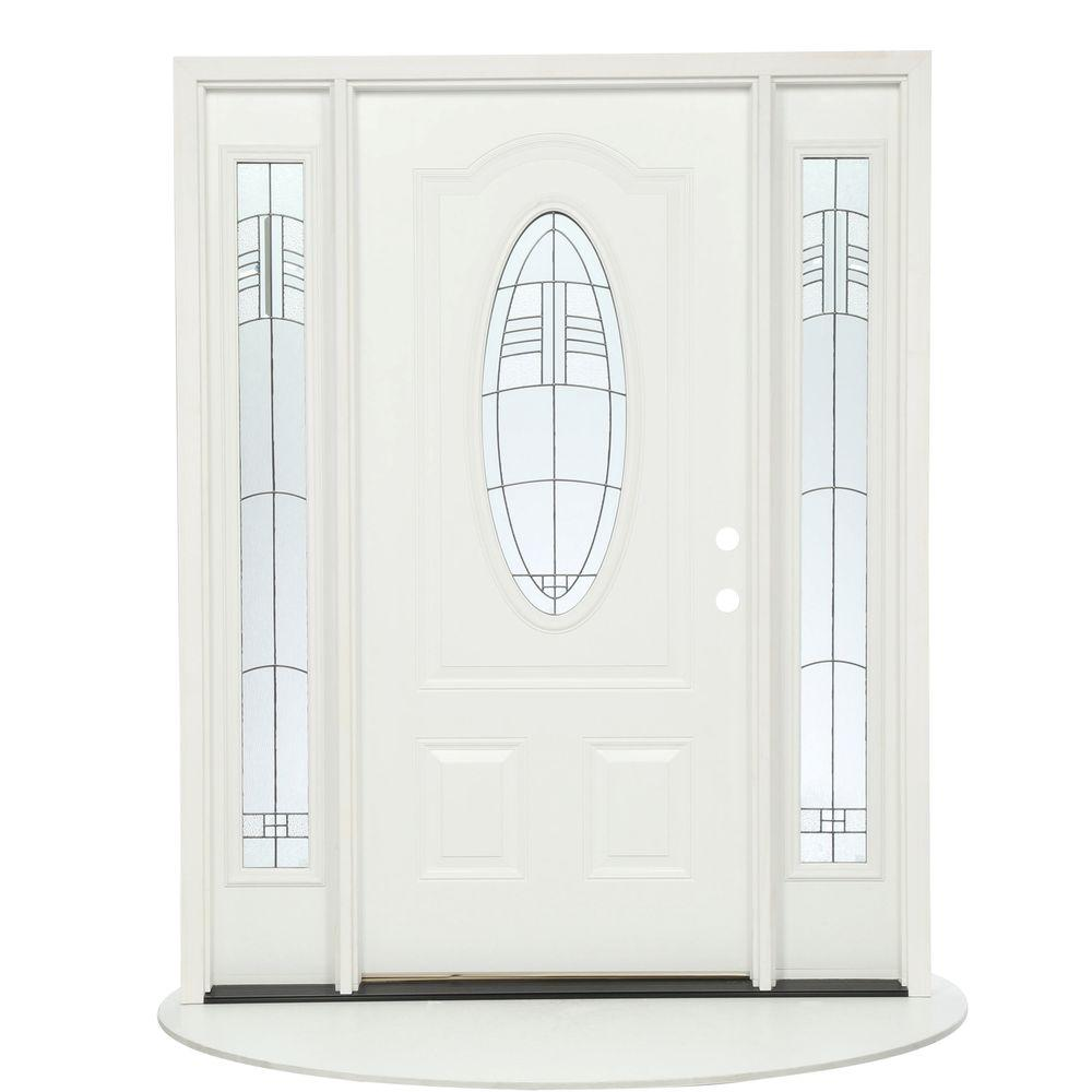 Feather River Doors 63.5 in.x81.625 in. Rochester Patina 3/4 Oval Lt Unfinished Smooth Left-Hand Fiberglass Prehung Front Door w/ Sidelites