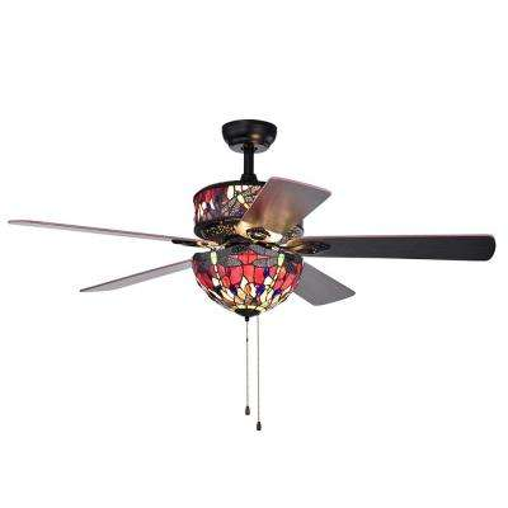 Jalev 52 in. Indoor Matte Black Ceiling Fan with Light Kit