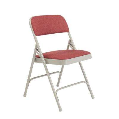 NPS 2200 Series Black Fabric Upholstered Premium Folding Chairs, Burgundy, (Pack of 4)