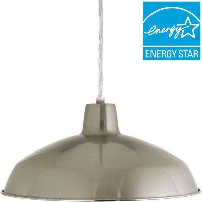 1-Light Brushed Nickel LED Pendant with Metal Shade