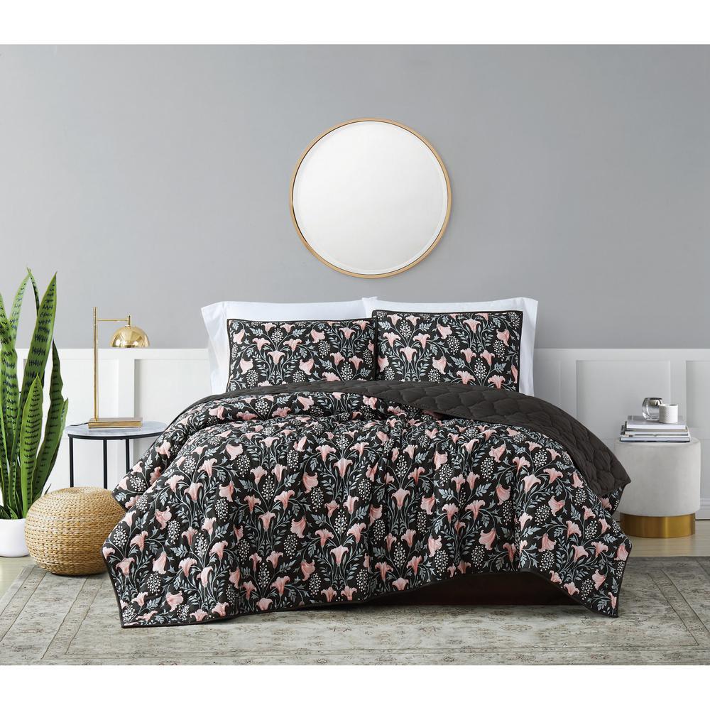 Galinda 3-Piece Black Multi King Cotton Quilt Set