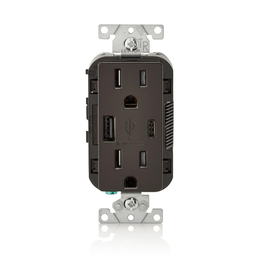 Leviton 15 Amp Decora Type A And C Usb Charger Tamper Resistant Combination Switch Outlet Wiring Diagram Brown