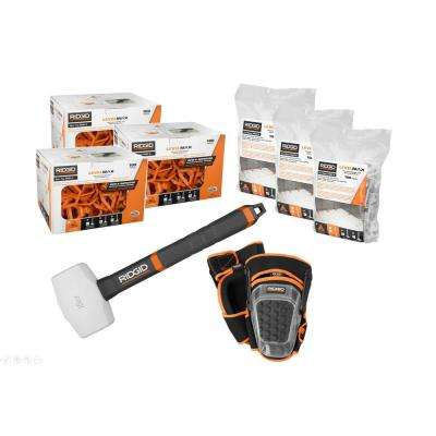 LevelMax Anti-Lippage and Spacing System Top, Flat Stem, Pro Hinge Stabilizing Knee Pad, 16 oz. Rubber Mallet