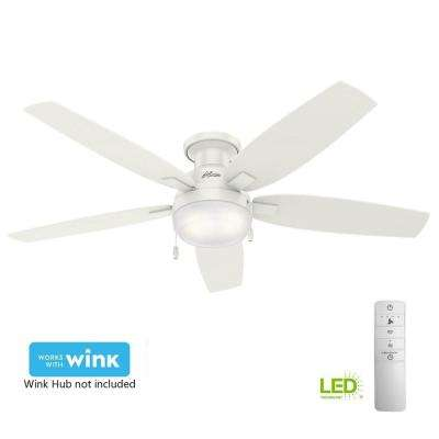 Duncan 52 in. LED Indoor Fresh White Flush Mount Smart Ceiling Fan with Light and WINK Remote Control